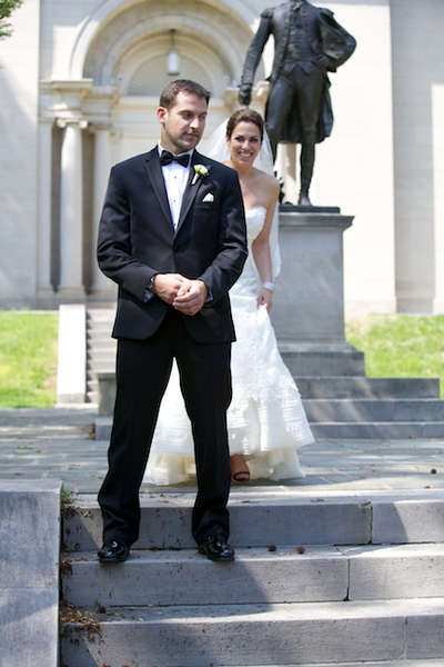 Lafayette College wedding photo of couple's first look
