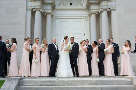Layfayette College wedding party photo in front of Colton Chapel