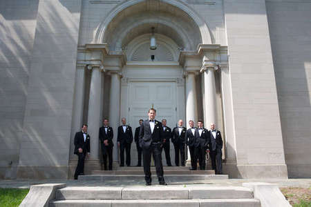 Lafayette College wedding photo with groomsmen in front of Colton Chapel